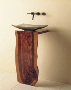 Wood L-Slab pedestal sink,made by Stone Forest Design Decor, Wood Countertops, Furniture, Wood, Wood Slab, Kitchen And Bath, Cool Furniture, Wood Pedestal, Wood Design