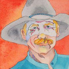 "Linda Lucy Lunde's Original Western Watercolor Paintings ""Blonde Cowboy"" luckystargallery.com $225"