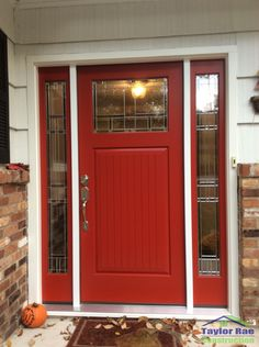 Bon Red Therma Tru Classic Craft Entry Door With Sidelites. Mountain Lakes, NJ