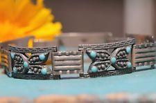 Vintage 1920's Mexican Sterling Silver Embossed Blue Enamel Link Bracelet