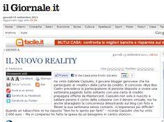 15/09/2011 - il Giornale.it - IL NUOVO REALITY