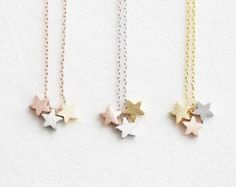Three Tone Star Necklace. three color stars by ElseJewelry on Etsy