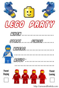 Here you will find two great Lego Party Invitations that are free to use and look professional so your child can have a cost effective LEGO Birthday Party.