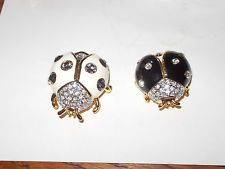 JOAN RIVERS Black/White Enamel Crystallized Lady Bug Brooch/Pin