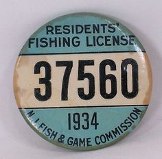 1934 New Jersey Fish & Game Pinback, Residents Fishing License, Whitehead & Hoag - http://sports.goshoppins.com/hunting-equipment/1934-new-jersey-fish-game-pinback-residents-fishing-license-whitehead-hoag/