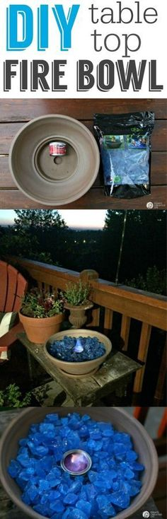 DIY Tabletop Fire Bowl Tutorial is part of Outdoor crafts Table - DIY Tabletop Fire Bowl See the full tutorial on making your own tabletop fire bowl Patio Ideas and more on TodaysCreativeLife com Outdoor Spaces, Outdoor Living, Outdoor Decor, Outdoor Gifts, Outdoor Patios, Outdoor Pergola, Rustic Outdoor, Outdoor Kitchens, Diy Pergola