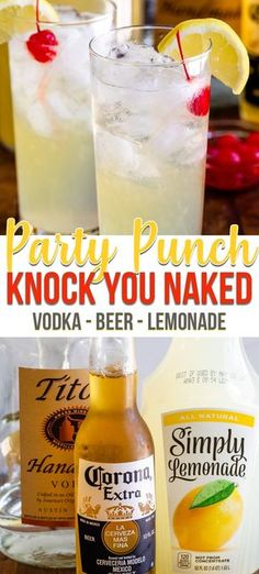 Party Punch with vodka, beer and lemonade. This cocktail punch recipe tastes like lemonade but is full of alcohol for a crowd. Party Punch with vodka, beer and lemonade. This cocktail punch recipe tastes like lemonade but is full of alcohol for a crowd. Cocktail Punch, Vodka Punch, Punch Punch, Beer Punch, Punch Drink, Vodka Tonic, Cocktail Drinks, Alcohol Drink Recipes, Alcoholic Punch Recipes Vodka