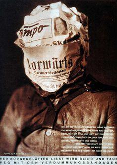 """John Heartfield """"Quem lê jornais burgueses fica cego e surdo: fora com estas vendas inbecilizantes"""""""