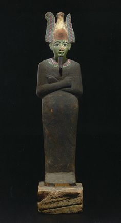 Statue of Osiris, painted gesso on wood, Egypt, 664-525 BC. Museum of Art at CSUSB. Permanent Egyptian Collection. | Photo: Robert A. Whitehead/CSUSB.