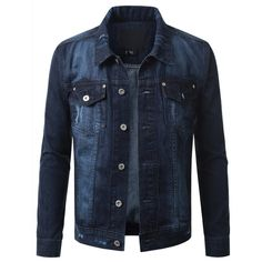 Button Down Denim Trucker Jacket (71 AUD) ❤ liked on Polyvore featuring outerwear and jackets