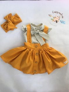 Suspender skirt Etsy :: Your place to buy and sell all things handmade Toddler Outfits, Baby Outfits, Kids Outfits, Cute Outfits, Baby Girl Fashion, Kids Fashion, Baby Dress Design, Suspender Skirt, Baby Kids Clothes