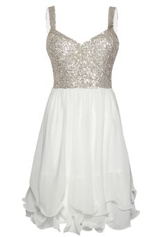 White Sequin Dress - White Skater Dress with Sequin bachelorette party dress or for rehearsal Comfy Dresses, Trendy Dresses, Cute Dresses, Beautiful Dresses, Casual Dresses, Formal Dresses, Beautiful Clothes, White Sparkly Dress, White Skater Dresses