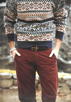 Burgundy jeans and a pattern sweater is a great men's outfit for Harvest 2015.