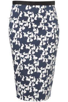 Fun! Rabbit print pencil skirt from Topshop, $85.