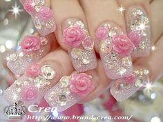 Image via Young Chic and Social: Gyaru Nails Spam Japanese Nail Art Photos Fancy Nails, Bling Nails, 3d Nails, Cute Nails, Pretty Nails, Pastel Nails, Nail Art Photos, 3d Nail Art, Japanese Nail Art