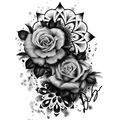 ideas for flowers tattoo desing tatoo Mandala Rose Tattoo, Rose Drawing Tattoo, Tattoo Sketches, Badass Tattoos, Body Art Tattoos, Sleeve Tattoos, Cool Tattoos, Fake Tattoo, Tatoos