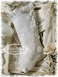 Embroidery Lace Stocking - Christmas Stockings - A Gathering Place