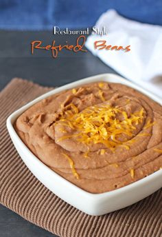 restaurant style Restaurant Style Refried Beans from Gina Kleinworth amp; Mexican Dishes, Mexican Food Recipes, Vegetarian Recipes, Mexican Bread, Mexican Meals, Mexican Cooking, Vegetarian Dinners, Slow Cooker Recipes, Crockpot Recipes