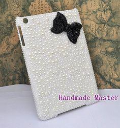 Handmade Custom Case Apple iPad Mini Case White Pearl iPad Mini Case Black Rhinestone Bow Case $44.13