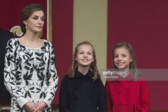 Queen Letizia of Spain, Princess Leonor of Spain and Princess Sofia of Spain attend the National Day military parade on October 12, 2016 in Madrid, Spain.