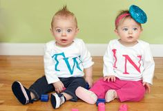 Adorable Matching TWIN Shirts Infant and Toddler Sizes by izzysgma, $30.00