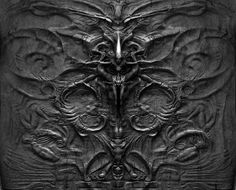 """Hans Ruedi Giger, Alien Hieroglyphics. This is actually on the wall of the """"head"""" chamber in Prometheus"""