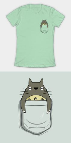 Totoro In A Pocket T Shirt. Take the forest spirit with you, wherever you go. Movie T Shirts, Totoro, Studio Ghibli, Diy Fashion, Films, Spirit, Fandoms, Pocket, Cute