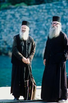 eastern orthodox monks on mount athos, greece. We Are The World, People Around The World, Around The Worlds, Men In Black, Myconos, Greece Travel, Greek Islands, World Cultures, Christianity