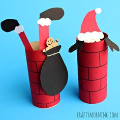 Learn how to make a chimney out of toilet paper rolls! Santa Clause is going down the chimney in this Christmas craft for kids.