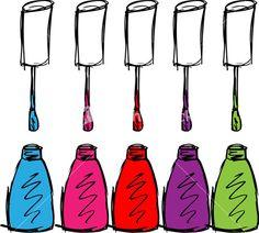 Sketch Of Colorful Nail Polish. Vector Illustration