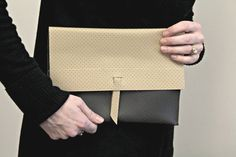 Elegant! Grey and Tan Two Tone Clutch by Unshattered on Etsy. These bags support the Walter Hoving Home where women are rebuilding their lives shattered by addiction.