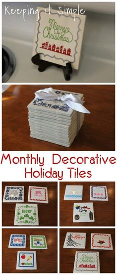 4x4 Monthly Decorative Holiday Tiles - Keeping it Simple Crafts
