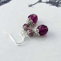 Amethyst Earrings, Purple Earrings, Silver Earrings, Birthstone Jewelry, Czech Glass Beads, Womens Earrings, Unique Earrings, Gifts for Her by SmockandStone on Etsy