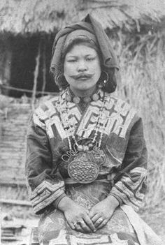 Ainu Woman; the Ainu are a native people who live in the Northern Islands of Japan.