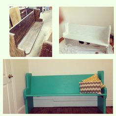 My First DIY Project. I bought a beautiful old church pew off of Craigslist and painted it Tantalizing Teal by Valspar. Pillows courtesy of  Target and Hobby Lobby. #DIY #Upcycle