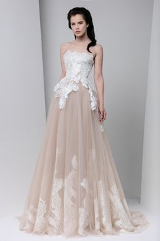 Blush A-line evening dress with a white macramé bust featuring applique silk flower embellishments and a full, gathered tulle skirt.