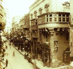 The Valletta we've never known: Kingsway is bustling with business in 1931 before the Second World War destroyed dozens of buildings. Malta.