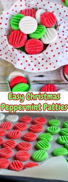 Easy Christmas Peppermint Patties - These are so bright and cheerful! Perfect for a holiday treat