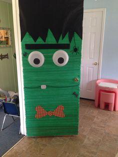 Frankenstein door!! Halloween time! & Frankenstein door girl version | DIY Halloween Decor | Pinterest ...