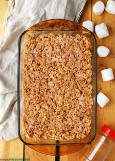 A fun twist on the classic rice krispie treat that adds cinnamon to both the marshmallow mixture, as well as a delicious coating. Free of the top allergens. Rice Krispy Treats Recipe, Rice Krispie Treats, Rice Krispies, Egg Free Desserts, Dessert Recipes, Cereal Treats, Dairy Free Eggs, Allergy Free Recipes, Vegan Recipes