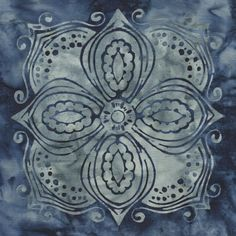 "Bali Chop Medallion Tiles 24"" Panel - Indigo"