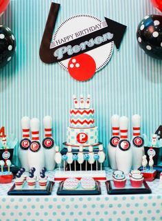 Bowling Birthday Party Ideas in blue, red, white and black.