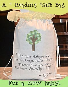 A reading gift bag for a new baby.
