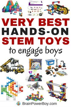 These are the very best hands-on STEM toys to engage boys. All of the over 20 toys chosen provide exceptional play value and engaging STEM learning. These make great gifts for boys. Click image to see the list. Gifts For Boys, Toys For Boys, Kids Toys, Baby Toys, Baby Play, Activities For Boys, Stem Activities, Stem Learning, Kids Learning