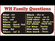 WH Family Question Words in English: WH Questions Exercises English Learning Spoken, English Speaking Skills, Learn English Words, English Lessons, English Study, Grammar For Kids, Teaching English Grammar, English Verbs, English Phrases