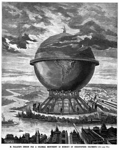 Appearing in the October 1890 issue of Scientific American magazine, the engraving above is an artist's rendering of the truly gigantic monument planned by the Spanish architect Alberto Palacio in honour of Christopher Columbus. The structure was designed for the 1893 Chicago World's Fair, an event to celebrate the 400th anniversary of Columbus' arrival in the New World in 1492. The globe of Palacio's design was envisaged to be nearly 1000ft in diameter and to house a spiralling stairway…