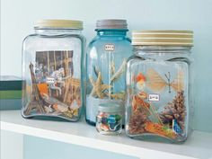 Memory Jar Stuff your favorite souvenirs into pretty glass jars. Display these memory jars on your mantel and treat it as a living arrangement — continue to update or rearrange items as you see fit. Kids Crafts, Jar Crafts, Cute Crafts, Crafts To Do, Summer Crafts, Shell Crafts, Martha Stewart Manualidades, Do It Yourself Inspiration, Seashell Crafts