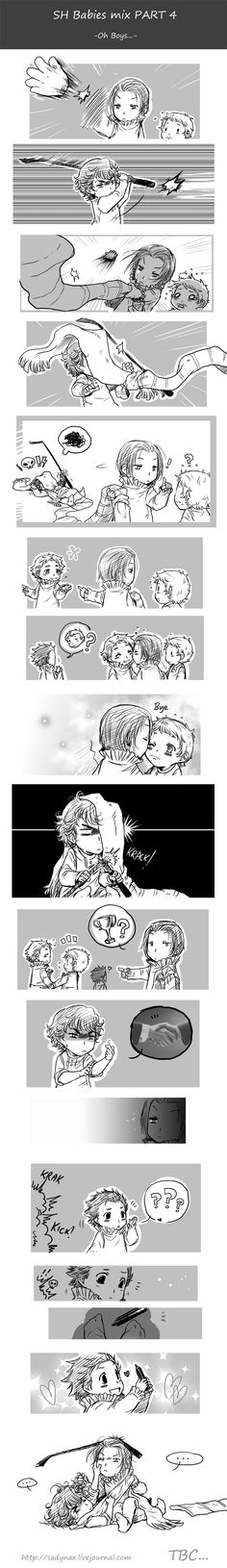 Sherlock babies comic Part 4 Sherlock and BBC!Sherlock keep up the fight. Sherlock begins talking to John and BBC!John and BBC!Sherlock gets jealous. The two Sherlock's try to fight for their John's, meanwhile RDJ!Sherlock finds a marker again:3