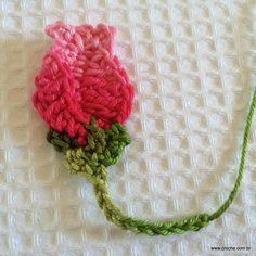 BOTÃO DE ROSA - Passo a passo -- http://www.croche.com.br/botao-de-rosa-passo-a-passo/