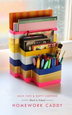 22 Creative Arts & Crafts Storage Inspiration   Arts and Classy Homework Caddy, Kids Homework, Homework Station, Desk Caddy, Homework Desk, Writing Station, Arts And Crafts Storage, Creative Arts And Crafts, Craft Storage